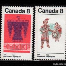 Sellos: CANADA 519/20** - AÑO 1973 - INDIOS ALGONQUINS. Lote 136716174