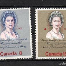 Sellos: CANADA 503/04** - AÑO 1973 - VISITA REAL. Lote 140140554