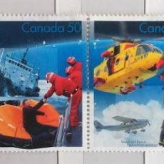 Sellos: CANADÁ , BLOQUE DE 4 SELLOS DIFERENTES, DEPORTES DE NIEVE, NUEVOS . Lote 140352422