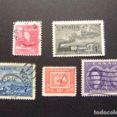 Sellos: CANADA 1951 TIMBRES SELLOS YVERT 245 - 246 - 248 - 249 - 250 FU. Lote 140690814