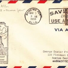 Sellos: CARTA 1930: MEDICINE HAT ( CANADA ) - MASSACHUSETTS ( USA ) - VIA AIR MAIL. Lote 143823054