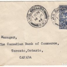Sellos: SOBRE 1943 TORONTO ( CANADA ) REMITENTE BARCLAIS BANK ( SELLO DE AGUA ). Lote 143826254