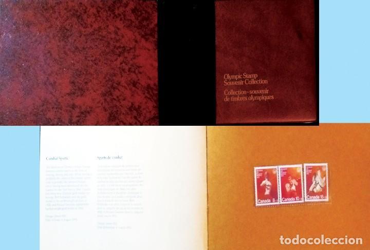 1976.-CARPETILLA CON ESTUCHE DE 5 SERIES DE JJ.OO. DE MONTREAL DE RECUERDO A TODOS LOS COLABORADORES (Sellos - Extranjero - América - Canadá)