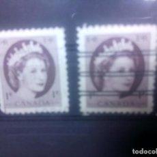 Sellos: CANADÁ,1954, ISABEL II, BARRADO Y SIN BARRAR. Lote 149949078