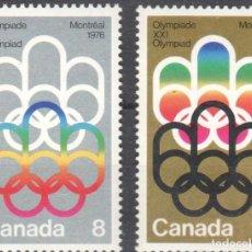 Sellos: CANADA - 1 SERIE DE SELLOS IVERT 506-07(2 VALORES) JUEGOS OLIMPICOS DE MONTREAL 1976 - GOMA ORIGINAL. Lote 150514514