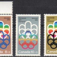 Sellos: CANADA - 1 SERIE DE SELLOS IVERT 530-532(3 VALORES)JUEGOS OLIMPICOS DE MONTREAL 1976 - GOMA ORIGINAL. Lote 150515190