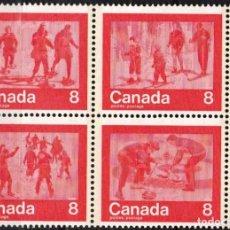 Sellos: CANADA - 1 BLOQUE DE 4 SELLOS- IVERT 544-547 JUEGOS OLIMPICOS DE MONTREAL 1976 - GOMA ORIGINAL. Lote 150515366