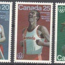 Sellos: CANADA - 1 SERIE DE SELLOS IVERT 571-573(3 VALORES)JUEGOS OLIMPICOS DE MONTREAL 1976 - GOMA ORIGINAL. Lote 150516070