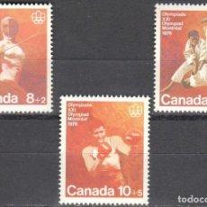 Sellos: CANADA - 1 SERIE DE SELLOS IVERT 576-578(3 VALORES)JUEGOS OLIMPICOS DE MONTREAL 1976 - GOMA ORIGINAL. Lote 150516278