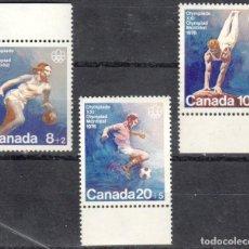 Sellos: CANADA - 1 SERIE DE SELLOS IVERT 591-593(3 VALORES)JUEGOS OLIMPICOS DE MONTREAL 1976 - GOMA ORIGINAL. Lote 150516502
