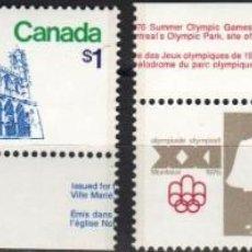 Sellos: CANADA - 1 SERIE DE SELLOS IVERT 598-599(2 VALORES)JUEGOS OLIMPICOS DE MONTREAL 1976 - GOMA ORIGINAL. Lote 150518106