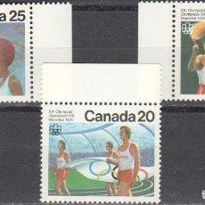 Sellos: CANADA - 1 SERIE DE SELLOS IVERT 604-606(3 VALORES)JUEGOS OLIMPICOS DE MONTREAL 1976 - GOMA ORIGINAL. Lote 150518354