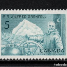 Sellos: CANADA 362** - AÑO 1965 - CENTENARIO DEL NACIMIENTO DE WILFRED GRENFELL, ESCRITOR Y MEDICO. Lote 151407114
