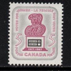 Sellos: CANADA 391** - AÑO 1967 - 50º ANIVERSARIO DEL DERECHO DE VOTO FEMENINO. Lote 151407718