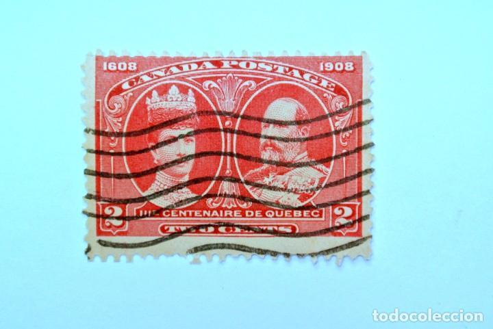 SELLO POSTAL CANADA 1908, 2 CENTS , CENTENARIO DE QUEBEC, USADO (Sellos - Extranjero - América - Canadá)