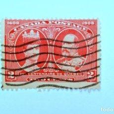 Sellos: SELLO POSTAL CANADA 1908, 2 CENTS , CENTENARIO DE QUEBEC, USADO. Lote 152857546