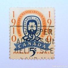 Sellos: SELLO POSTAL CANADA 1960, 5 CENTS , EMBLEMA ASOSIACIÓN GUÍAS DE CHICAS, CONMEMORATIVO, USADO. Lote 152858986