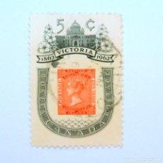 Sellos: SELLO POSTAL CANADA 1962, 5 CENTS , VICTORIA 1862-1962, CONMEMORATIVO, USADO. Lote 152859838