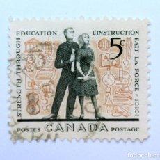 Sellos: SELLO POSTAL CANADA 1962, 5 CENTS , LA FUERZA A TRAVES DE LA EDUCACION, USADO. Lote 152862278