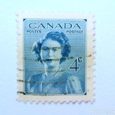 Sellos: SELLO POSTAL CANADA 1948, 4 CENTS , PRINCESA ELIZABETH, CONMEMORATIVO, USADO. Lote 152863806