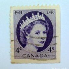 Sellos: SELLO POSTAL CANADA 1955, 4 CENT , REINA ELIZABETH II, USADO. Lote 152870094
