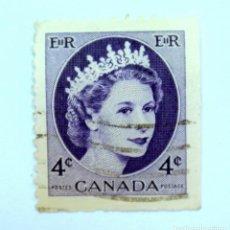 Sellos: SELLO POSTAL CANADA 1955, 4 CENT , REINA ELIZABETH II, USADO. Lote 152870762