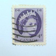 Sellos: SELLO POSTAL CANADA 1962, 4 CENT , REINA ELIZABETH II, USADO. Lote 152871266