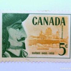 Sellos: SELLO POSTAL CANADA 1958, 5 C, 350 ANIVERSARIO FUNDACION DE QUEBEC,CONMEMORATIVO, USADO. Lote 152898286