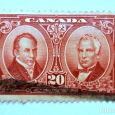 Sellos: SELLO POSTAL CANADA 1927, 20 C, ROBERT BALDWIN Y SIR LOUIS-HIPPOLYTE LAFONTAINE, CONMEMORATIVO,USADO. Lote 152899286