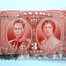 Sellos: SELLO POSTAL CANADA 1937, 3 C, REY GEORGE VI Y REINA ELIZABETH I, CONMEMORATIVO, USADO. Lote 152899742
