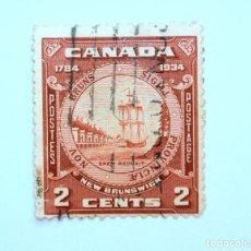 Sellos: SELLO POSTAL CANADA 1934, 2 CENTS , NUEVO SELLO DE BRUNSWICK, USADO. Lote 152901654
