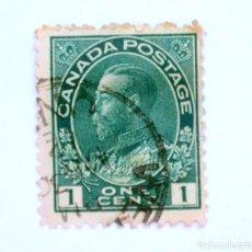 Sellos: SELLO POSTAL CANADA 1911, 1 CENTS , REY GEORGE V, USADO. Lote 152901926
