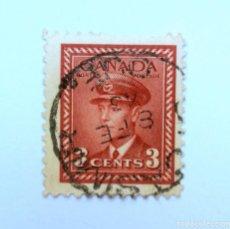 Sellos: SELLO POSTAL CANADA 1943, 3 CENTS , REY GEORGE VI, USADO. Lote 152962422