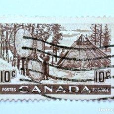 Sellos: SELLO POSTAL CANADA 1950, 10 CENT, PIELES DE SECADO INDIOS, USADO. Lote 152965126