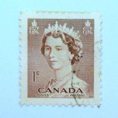 Sellos: SELLO POSTAL CANADA 1953, 1 CENT, REINA ELIZABETH II, USADO. Lote 152965502