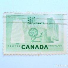 Sellos: SELLO POSTAL CANADA 1953, 50 CENT, INDUSTRIA TEXTIL, USADO. Lote 152979326
