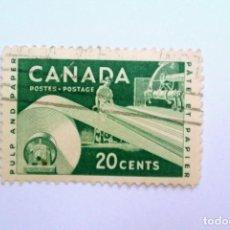 Sellos: SELLO POSTAL CANADA 1956, 20 CENT, INDUSTRIA DEL PAPEL , USADO. Lote 152979614