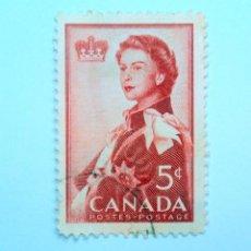 Sellos: SELLO POSTAL CANADA 1959, 5 CENT, REINA ELIZABETH II, CONMEMORATIVO, USADO. Lote 152979794