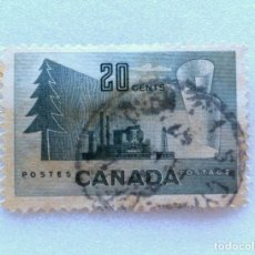 Sellos: SELLO POSTAL CANADA 1952, 20 CENT, PRODUCTOS FORESTALES, USADO. Lote 152981062