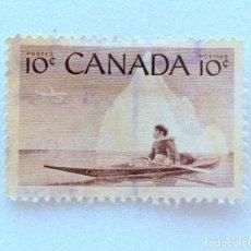 Sellos: SELLO POSTAL CANADA 1955, 10 CENT, INUK Y KAYAK, CONMEMORATIVO, USADO. Lote 152982078