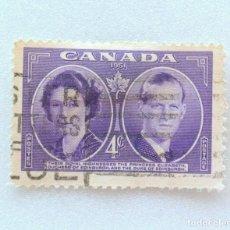 Sellos: SELLO POSTAL CANADA 1951, 4 CENT, PRINCESA ELIZABETH Y DUQUE DE EDIMBURGO, CONMEMORATIVO, USADO. Lote 152983470
