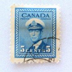 Sellos: SELLO POSTAL CANADA 1942, 5 CENTS , REY GEORGE VI, USADO. Lote 152986374