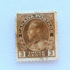 Sellos: SELLO POSTAL CANADA 1918, 3 CENTS , REY GEORGE V, USADO. Lote 152991158