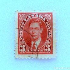 Sellos: SELLO POSTAL CANADA 1937, 3 CENTS ,REY GEORGE VI, USADO. Lote 153033498