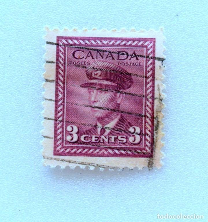 SELLO POSTAL CANADA 1943, 3 CENTS ,REY GEORGE VI, USADO (Sellos - Extranjero - América - Canadá)