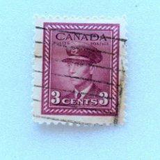 Sellos: SELLO POSTAL CANADA 1943, 3 CENTS ,REY GEORGE VI, USADO. Lote 153039142