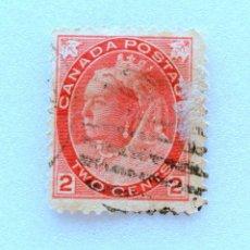 Sellos: SELLO POSTAL CANADA 1899, 2 CENTS ,REINA VICTORIA , USADO. Lote 153042418