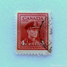 Sellos: SELLO POSTAL CANADA 1943, 4 CENTS , REY GEORGE VI , USADO. Lote 153046554