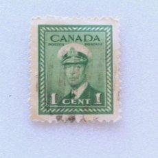 Sellos: SELLO POSTAL CANADA 1942, 1 CENTS , REY GEORGE VI CON UNIFORME NAVAL, USADO. Lote 153047114
