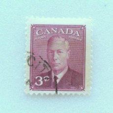 Sellos: SELLO POSTAL CANADA 1949, 3 CENTS , REY GEORGE VI , FOTOGRAFÍA DOROTHY WILDING, USADO. Lote 153047814